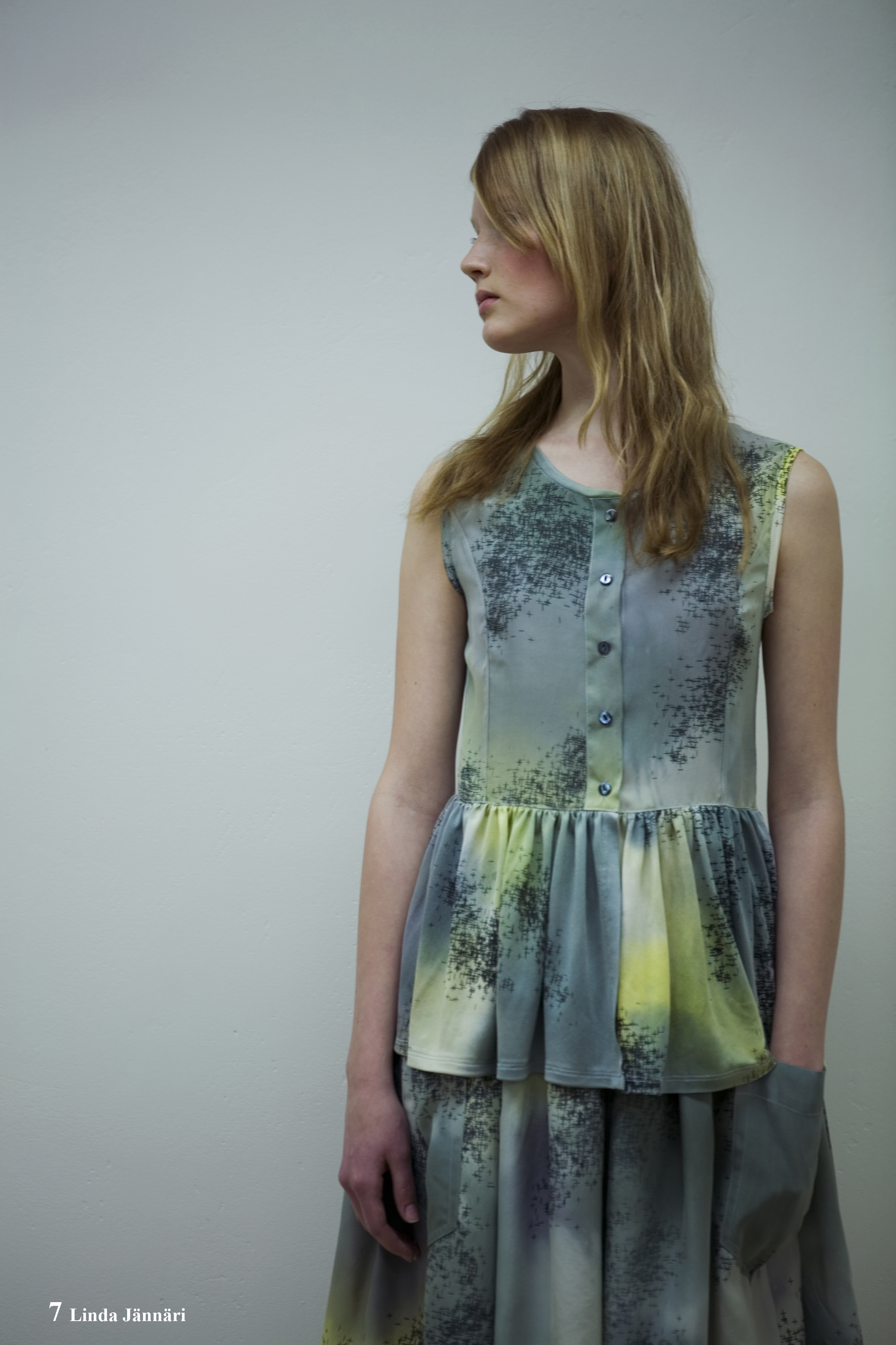 Skirt and Peplume Top in Painted and Printed Silk